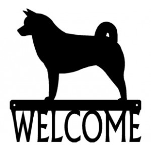 Akita Dog Welcome Sign