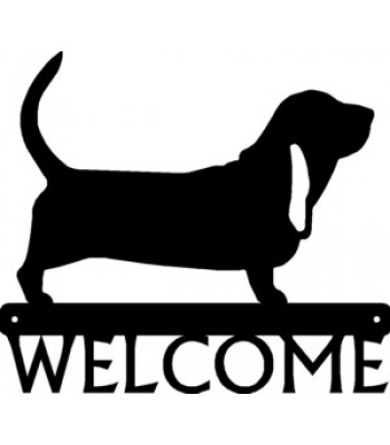 Basset Hound Dog Welcome Sign