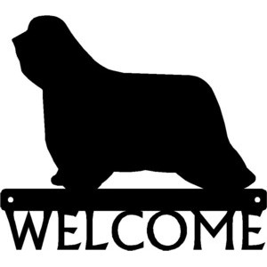 Bearded Collie Dog Welcome Sign