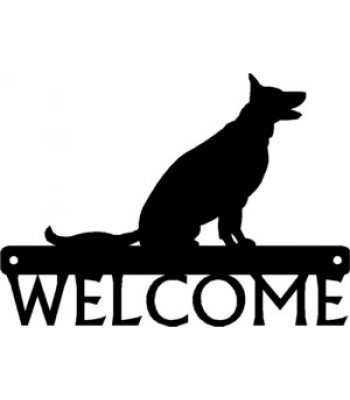 German Shepherd Sitting Dog Welcome Sign