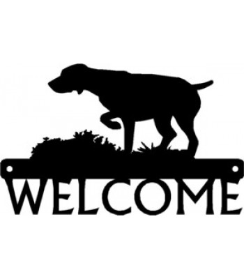 German Shorthaired Pointer on Point Dog Welcome Sign
