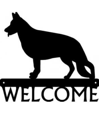 German Shepherd Standing Dog Welcome Sign