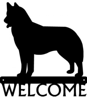 Husky Dog Welcome Sign