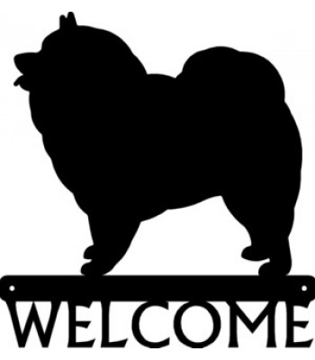 Keeshond Dog Welcome Sign