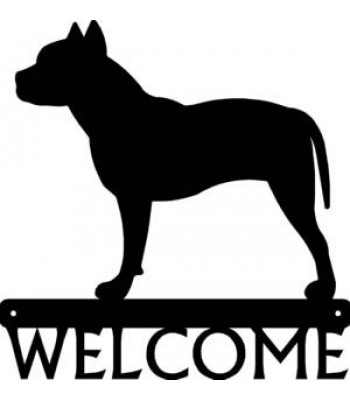 Pit Bull Terrier Dog Welcome Sign