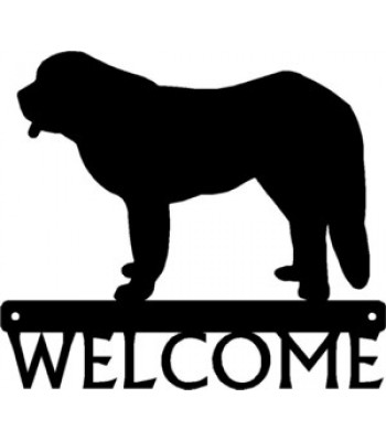 Saint Bernard Dog Welcome Sign