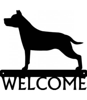 Staffordshire Terrier Dog Welcome Sign