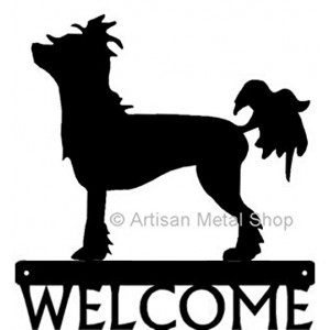 Chinese Crested Dog Welcome Sign