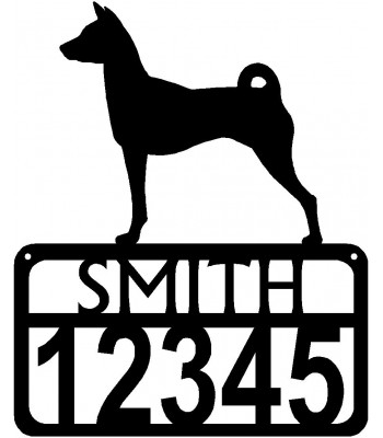 Personalized Dog Sign with Name & house numbers: Basenji