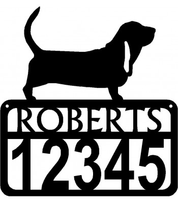 Personalized Dog Sign with Name & house numbers: Basset Hound