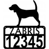 Personalized Dog Sign with Name & house numbers: Beagle