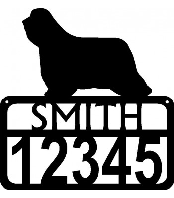 Personalized Dog Sign with Name & house numbers: Bearded Collie