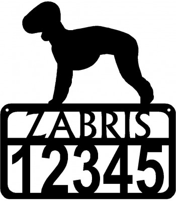 Personalized Dog Sign with Name & house numbers: Bedlington Terrier