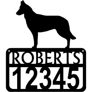 Personalized Dog Sign with Name & house numbers: Belgian Malinois