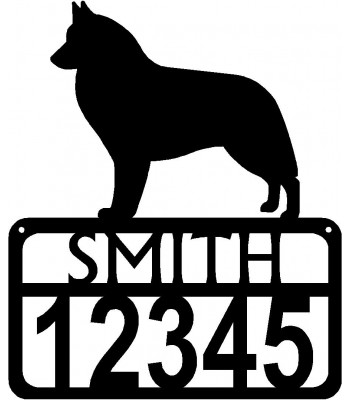 Personalized Dog Sign with Name & house numbers: Belgian Sheepdog/ Groenendael