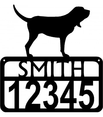 Personalized Dog Sign with Name & house numbers: Bloodhound