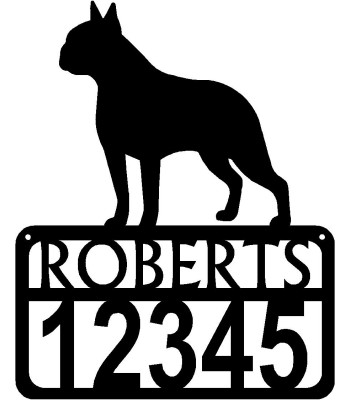 Personalized Dog Sign with Name & house numbers: Boston Terrier