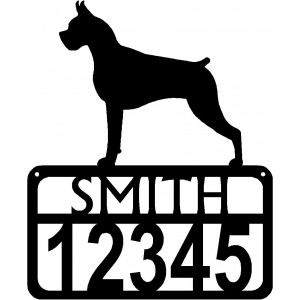 Personalized Dog Sign with Name & house numbers: Boxer