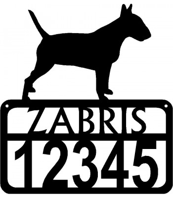 Personalized Dog Sign with Name & house numbers: Bull Terrier