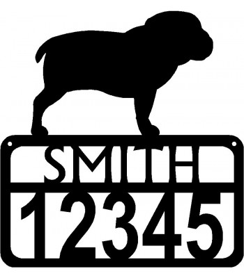 Personalized Dog Sign with Name & house numbers: Bulldog