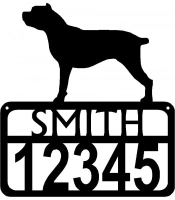 Personalized Dog Sign with Name & house numbers: Cane Corso