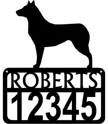Personalized Dog Sign with Name & house numbers: Smooth Collie