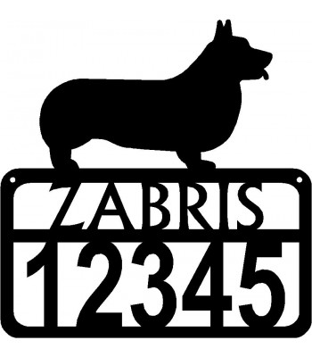 Personalized Dog Sign with Name & house numbers: Pembroke Welsh Corgi