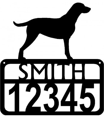 Personalized Dog Sign with Name & house numbers: Curly Coated Retriever