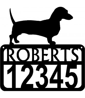 Personalized Dog Sign with Name & house numbers: Dachshund