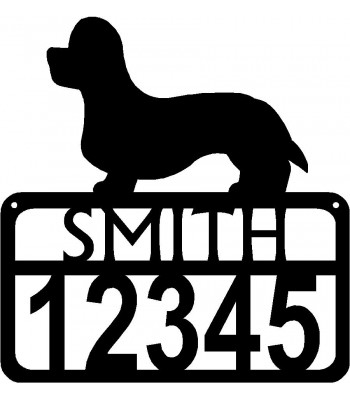Personalized Dog Sign with Name & house numbers: Dandie Dinmont Terrier