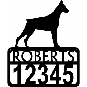 Personalized Dog Sign with Name & house numbers: Doberman