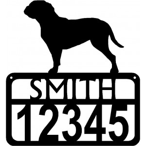 Personalized Dog Sign with Name & house numbers: Doque de Bordeaux