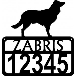Personalized Dog Sign with Name & house numbers: English Shepherd