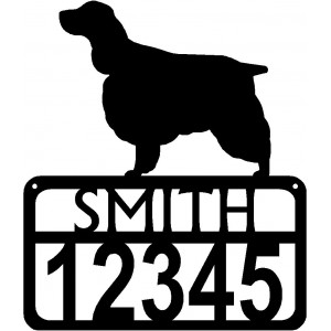 Personalized Dog Sign with Name & house numbers: English Springer Spaniel