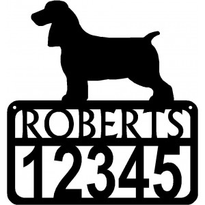 Personalized Dog Sign with Name & house numbers: Field Spaniel