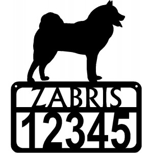 Personalized Dog Sign with Name & house numbers: Finnish Spitz