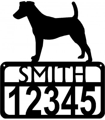 Personalized Dog Sign with Name & house numbers: Fox Terrier