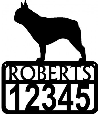 Personalized Dog Sign with Name & house numbers: French Bulldog