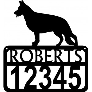 Personalized Dog Sign with Name & house numbers: German Shepherd