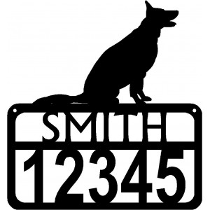 Personalized Dog Sign with Name & house numbers: German Shepherd (Sitting)