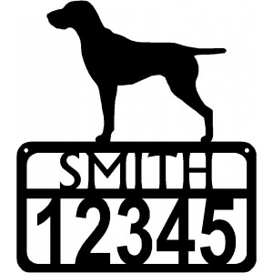 Personalized Dog Sign with Name & house numbers: German Shorthair Pointer