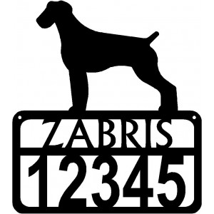 Personalized Dog Sign with Name & house numbers: German Wirehaired Pointer