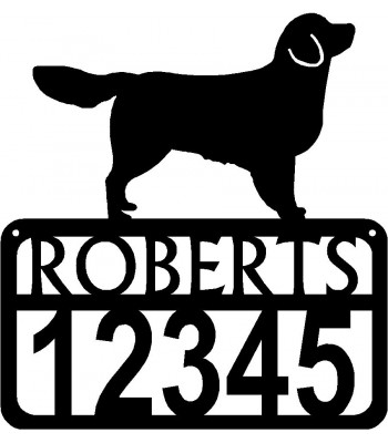Personalized Dog Sign with Name & house numbers: Golden Retriever