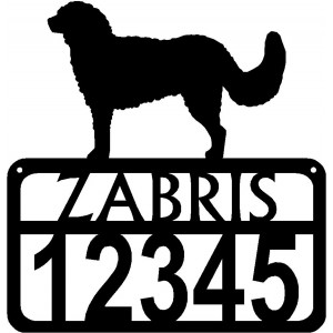 Personalized Dog Sign with Name & house numbers: Goldendoodle