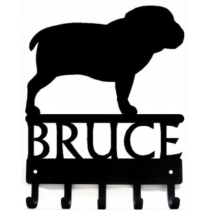 Bulldog - Personalized Name Dog Key Rack/ Leash Hanger
