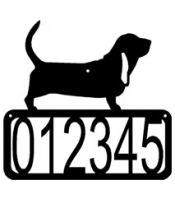 Basset Hound Dog House Address Sign