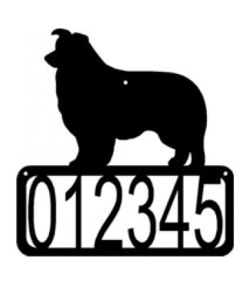 Border Collie Dog House Address Sign