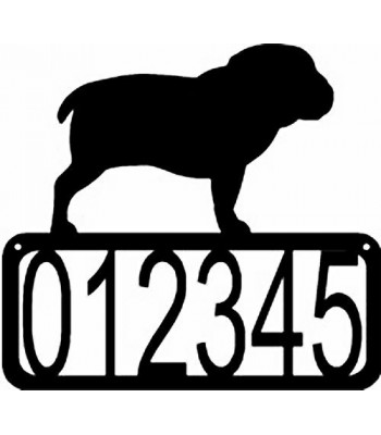 Bulldog Dog House Address Sign