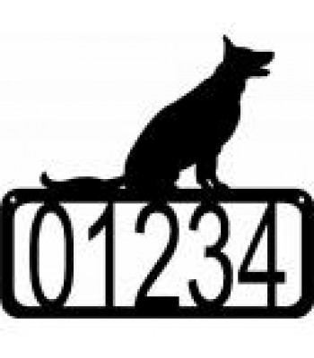 German Shepherd Sitting Dog House Address Sign