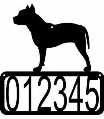 Pit Bull Terrier Dog House Address Sign